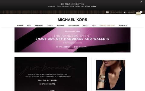 Screenshot of Home Page michaelkors.com - Michael Kors: Designer handbags, clothing, watches, shoes, and more - captured Dec. 1, 2015