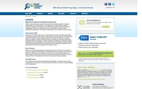 Screenshot of Jobs Page gms-hvac.com - Careers - captured Oct. 2, 2014