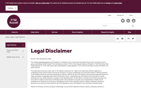 Screenshot of Terms Page russell.com - Legal Disclaimer | FTSE Russell - captured Dec. 25, 2016