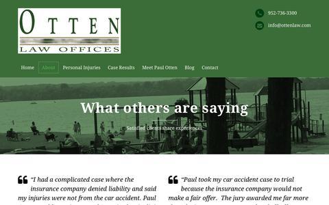 Screenshot of Testimonials Page ottenlaw.com - Testimonials – Otten Law Offices personal injury attorney - captured Nov. 30, 2016