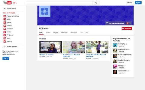 Screenshot of YouTube Page youtube.com - ATRInter  - YouTube - captured Oct. 29, 2014
