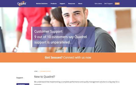 Screenshot of Support Page iquadrel.com - Customer Support - Quadrel - captured April 23, 2016