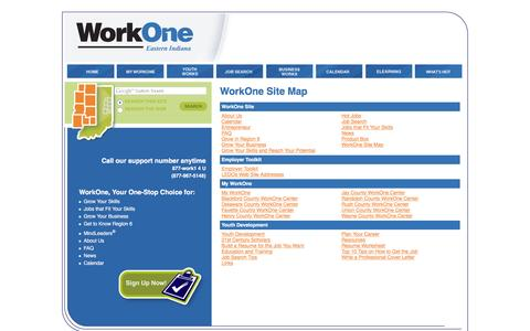 Screenshot of Site Map Page work-one.org - WorkOne Site Map, WorkOne - captured Jan. 25, 2016