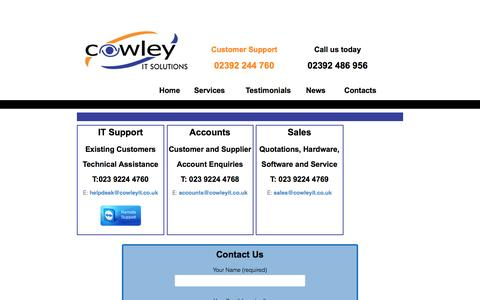 Screenshot of Support Page cowleyit.co.uk - Contacts - Cowley Computer Solutions - captured Nov. 11, 2016