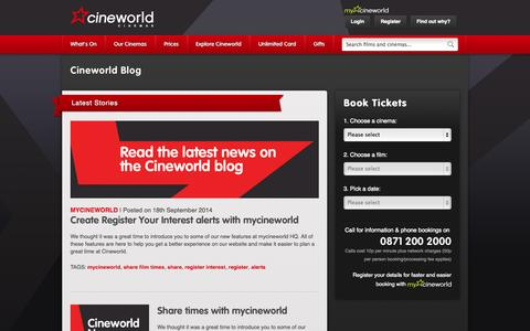 Screenshot of Blog cineworld.co.uk - Cineworld Blog | Cineworld Cinemas - captured Sept. 18, 2014