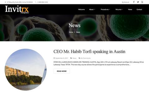 Screenshot of Press Page invitrx.com - News - captured Oct. 15, 2017