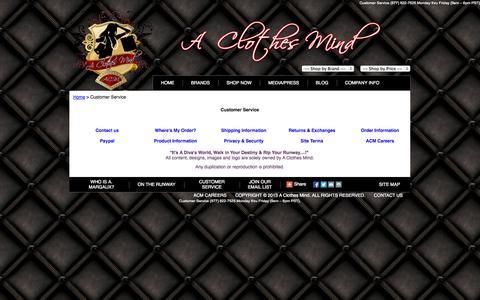 Screenshot of Support Page aclothesmind.com - Customer Service - captured Sept. 27, 2014
