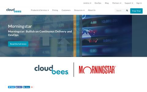 Screenshot of Case Studies Page cloudbees.com - Morningstar: Bullish on Continuous Delivery and DevOps | CloudBees - captured Aug. 8, 2018