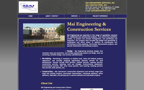 Screenshot of Services Page maiengineer.com - MAI Engineering Services Inc. - Services - captured Oct. 27, 2014