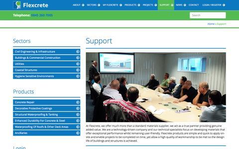 Screenshot of Support Page flexcrete.com - Support - Flexcrete - captured Nov. 25, 2016