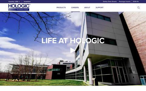 Screenshot of Jobs Page hologic.com - Hologic | Careers - captured Aug. 10, 2018