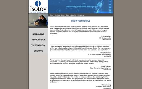 Screenshot of Testimonials Page isotov.com - Hawaii Business Information Research - Starting a Business in Hawaii - captured Oct. 6, 2014