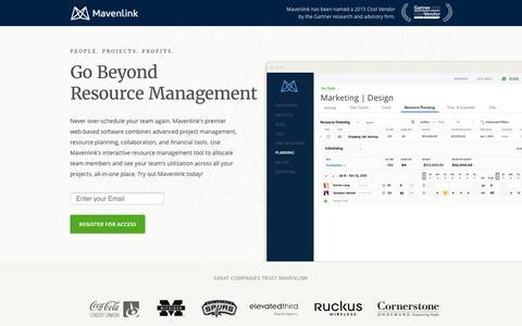 Screenshot of Landing Page mavenlink.com - Online Resource Management Software | Mavenlink - captured Feb. 11, 2016