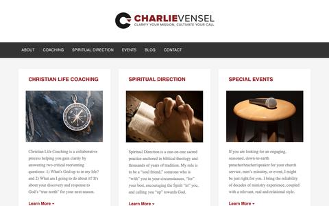 Screenshot of Home Page charlievensel.com - Charlie Vensel - MDIV, ACC, CSD - Christian Life Coach & Spiritual Director - captured Dec. 14, 2018