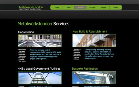 Screenshot of Services Page metalworkslondon.co - Architectural and structural metal works - captured May 26, 2017