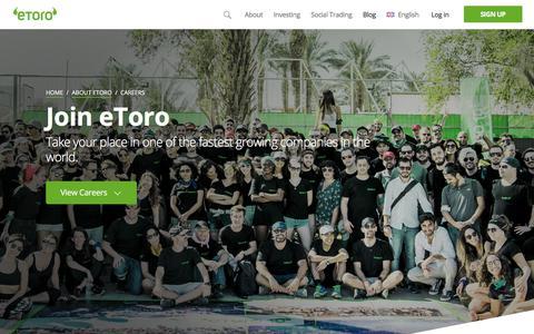 Screenshot of Jobs Page etoro.com - Careers - | eToro - captured Feb. 14, 2018