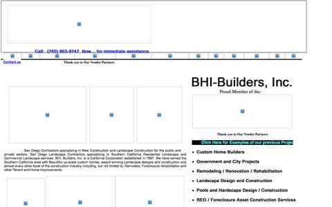 Screenshot of Home Page bhibuilders.com - BHI Builders, Inc. San Diego General Contractors,  New Construction, REO rehabilitation and San Diego Landscape Contractors - captured Oct. 4, 2014