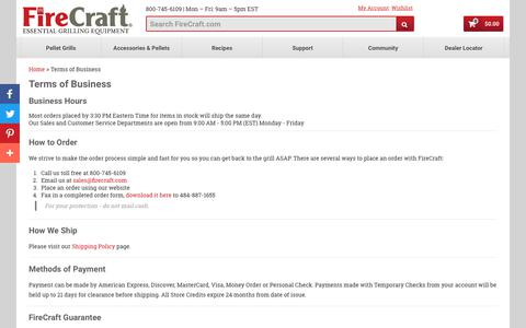 Screenshot of Terms Page firecraft.com - Terms of Business | FireCraft - captured Aug. 13, 2018