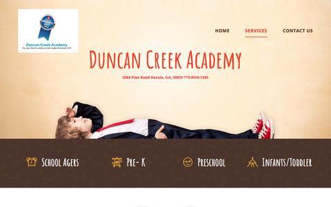 Screenshot of Services Page duncancreekacademy.com - SERVICES - Child care - captured Aug. 9, 2018