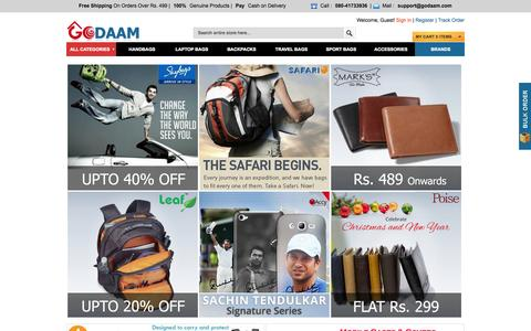 Screenshot of Home Page godaam.com - Bags - Buy Backpacks, Handbags, Laptop Bags and More at Special Price | Great Online Shopping in India - captured Sept. 19, 2014