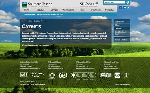 Screenshot of Jobs Page southerntesting.co.uk - Careers | Southern Testing - captured Feb. 25, 2016