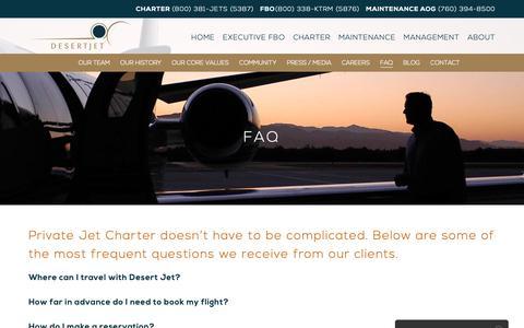 Screenshot of FAQ Page desertjet.com - Aircraft Charter FAQ | Desert Jet, Palm Springs Aircraft Charter - captured Nov. 6, 2018