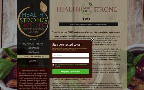 Screenshot of FAQ Page livinghealthstrong.com - The FAQ's about Being Health Strong - captured Nov. 5, 2016