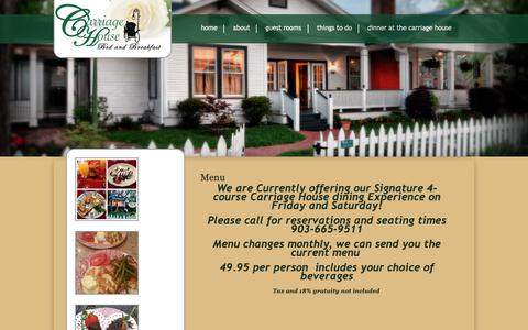 Screenshot of Menu Page carriagehousejefferson.com - Menu Carriage House Bed and Breakfast - captured Sept. 27, 2018