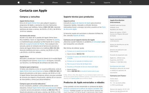 Screenshot of Contact Page apple.com - Contacte con nosotros - Apple (ES) - captured July 9, 2016