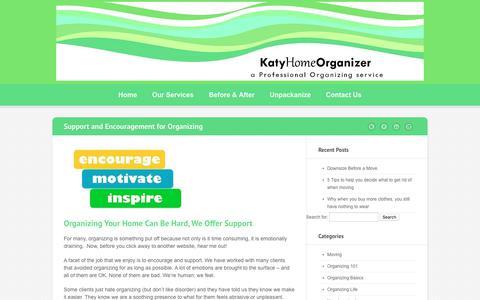 Screenshot of Support Page katyhomeorganizer.com - Organizing Support & Encouragement - captured Sept. 20, 2018