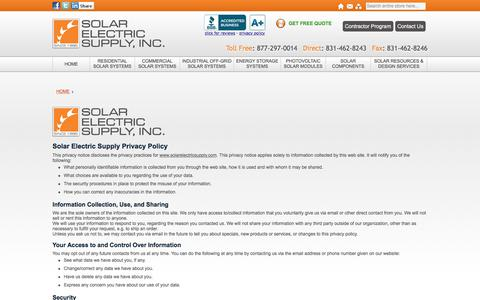Screenshot of Privacy Page solarelectricsupply.com - Solar Electric Supply, Inc. Privacy Policy - captured June 15, 2017