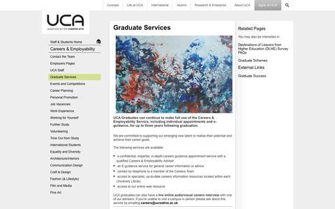 Screenshot of Jobs Page ucreative.ac.uk - Graduate Services - captured Sept. 25, 2014