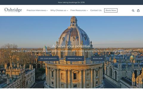 Screenshot of Home Page oxbridgeinterviews.co.uk - Oxbridge and Medicine Application Support – Oxbridge Interviews - captured Sept. 20, 2018