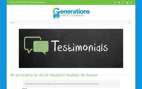 Screenshot of Testimonials Page cleangenerations.com - Generations Carpet Cleaning   –  Testimonials - captured Jan. 27, 2016