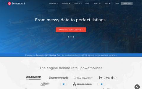 Screenshot of Home Page semantics3.com - Semantics3: Data Solutions to Power the Next Generation of Ecommerce - captured July 14, 2018