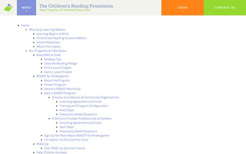 Screenshot of Site Map Page readingfoundation.org - Site Map - Reading Foundation - captured Sept. 20, 2018