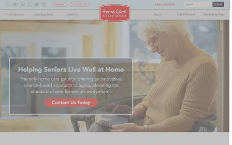 Screenshot of Home Page homecareassistance.com - Home Care Assistance | Home Care Assistance is the Nation's Top Choice for In-Home Senior/Elderly Care - captured Sept. 20, 2016