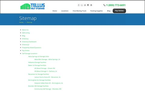 Screenshot of Site Map Page tellusselfstorage.com - Sitemap | Tellus Self Storage - captured Oct. 26, 2014