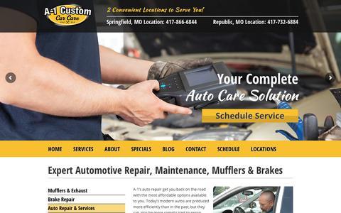 Screenshot of Services Page a-1customautorepair.com - Expert Automotive Repair, Maintenance, Mufflers & Brakes - captured Sept. 29, 2017