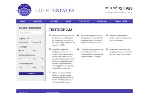 Screenshot of Testimonials Page coletestates.com - Testimonials | Colet Estates - captured Sept. 30, 2014