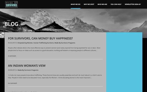 Screenshot of Blog madebysurvivors.com - Made by Survivors |   BLOG - captured Sept. 30, 2014