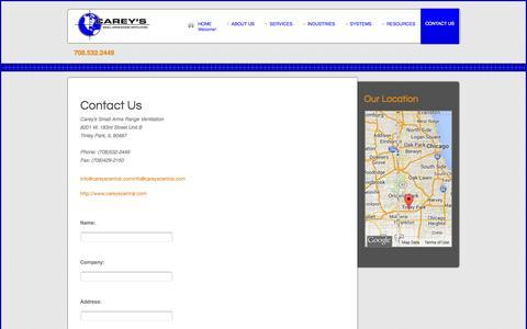Screenshot of Contact Page careyscentral.com - Contact us - captured Oct. 1, 2014