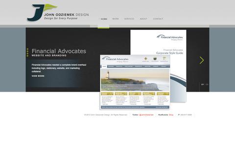 Screenshot of Home Page johnodz.com - John Odziemek :: Web, Interactive, and Print Graphic Design - captured March 16, 2016