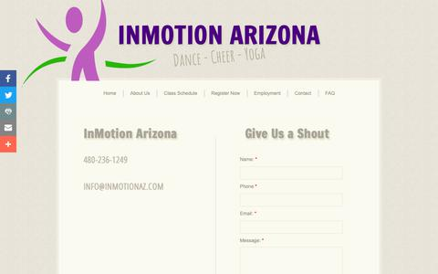 Screenshot of Privacy Page Contact Page inmotionaz.com - Contact - captured Oct. 11, 2018
