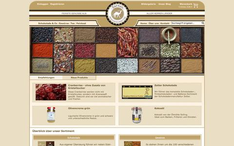 Screenshot of Home Page safran-tuebingen.de - Safran, Zotter Schokolade, Feinkost und Hibiskusblüten in Sirup kaufen - captured June 14, 2018