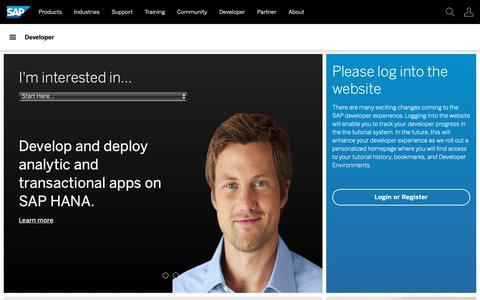 Screenshot of Developers Page sap.com - SAP Developer Center | Official Resources for SAP Developers - captured Dec. 12, 2018