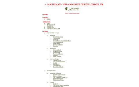 Screenshot of Site Map Page iamhuman.co.uk - Web design London - Award winning new media and web designers in London - I AM HUMAN - captured Aug. 1, 2015