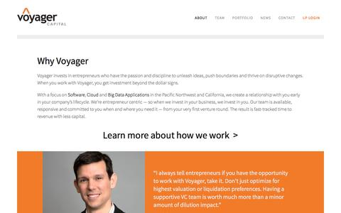 Screenshot of About Page voyagercapital.com - Why Voyager | Voyager Capital - captured Aug. 14, 2016