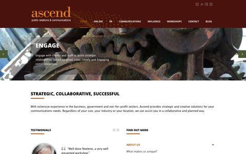 Screenshot of Home Page ascendpr.com.au - PR, Communications, & more | ascendpr.com.au PR, Communications, & more | ascendpr.com.au | Social media, communications, advocacy, web audits, workshops. We can assist. - captured Oct. 4, 2014