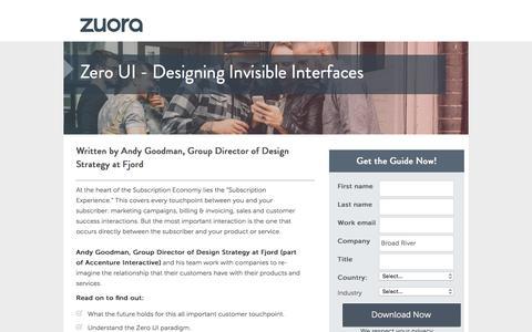 Screenshot of Landing Page zuora.com - Zero UI - Designing Digital Interfaces Zuora - captured Aug. 18, 2016